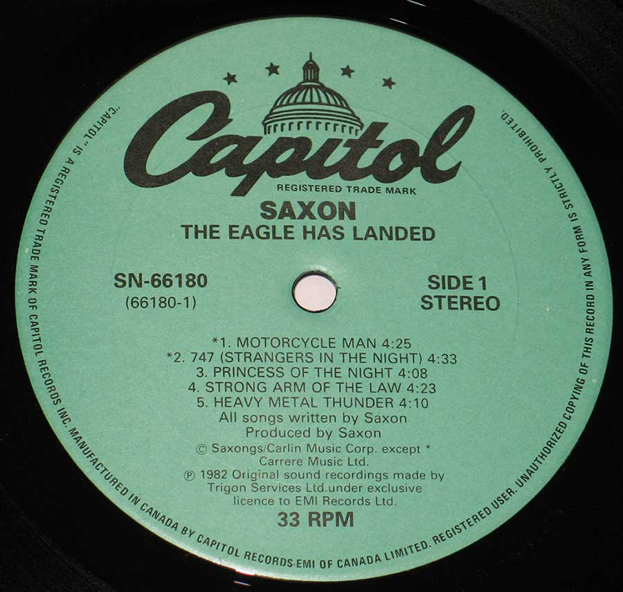 """The Eagle Has Landed ( Canada )"" Green Colour Capitol Record Label Details: CAPITOL Records SN-66180 ℗ 1982 Trigon Services Sound Copyright"