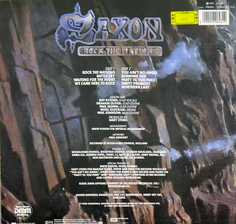 Photo of album back cover SAXON -  Rock The Nations