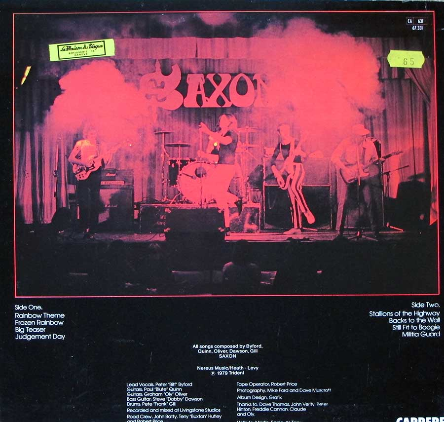 "SAXON - Self-Titled French Release 12"" LP VINYL ALBUM back cover"