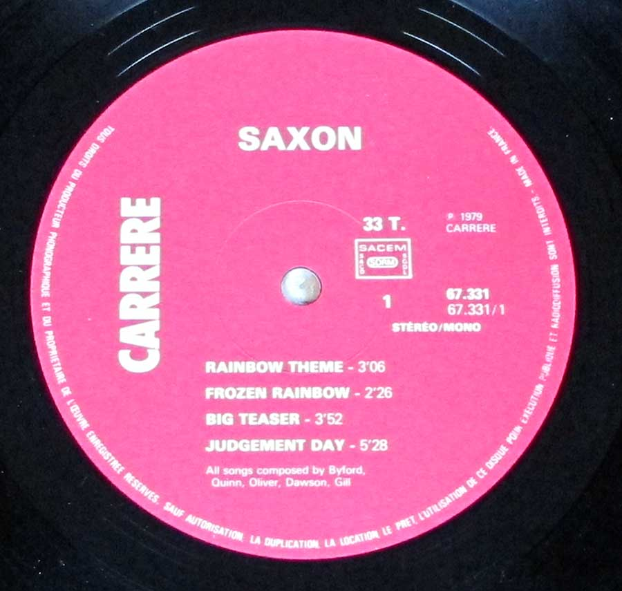"""Saxon"" Pink Colour CARRERE Record Label Details: Carrere 67.331 ℗ 1979 Carrere Sound Copyright"