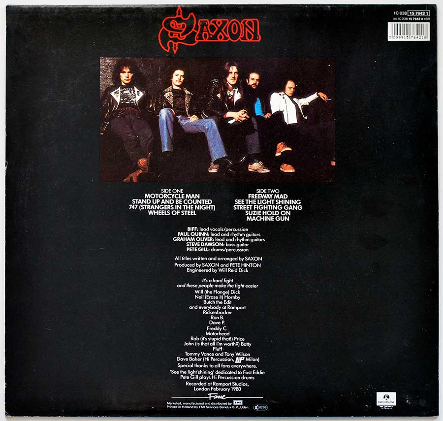 Photo of album back cover SAXON  - Wheels Of Steel - Germany / Holland Release