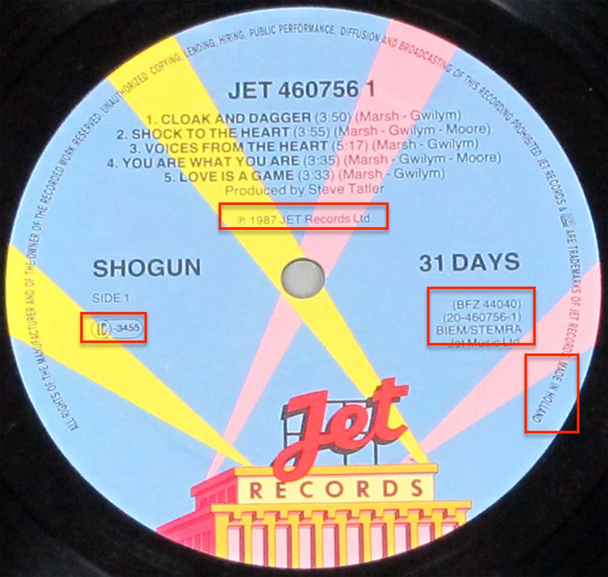 "Close-up Photo of ""SHOGUN - 31 Days"" 12"" JET Record Label"