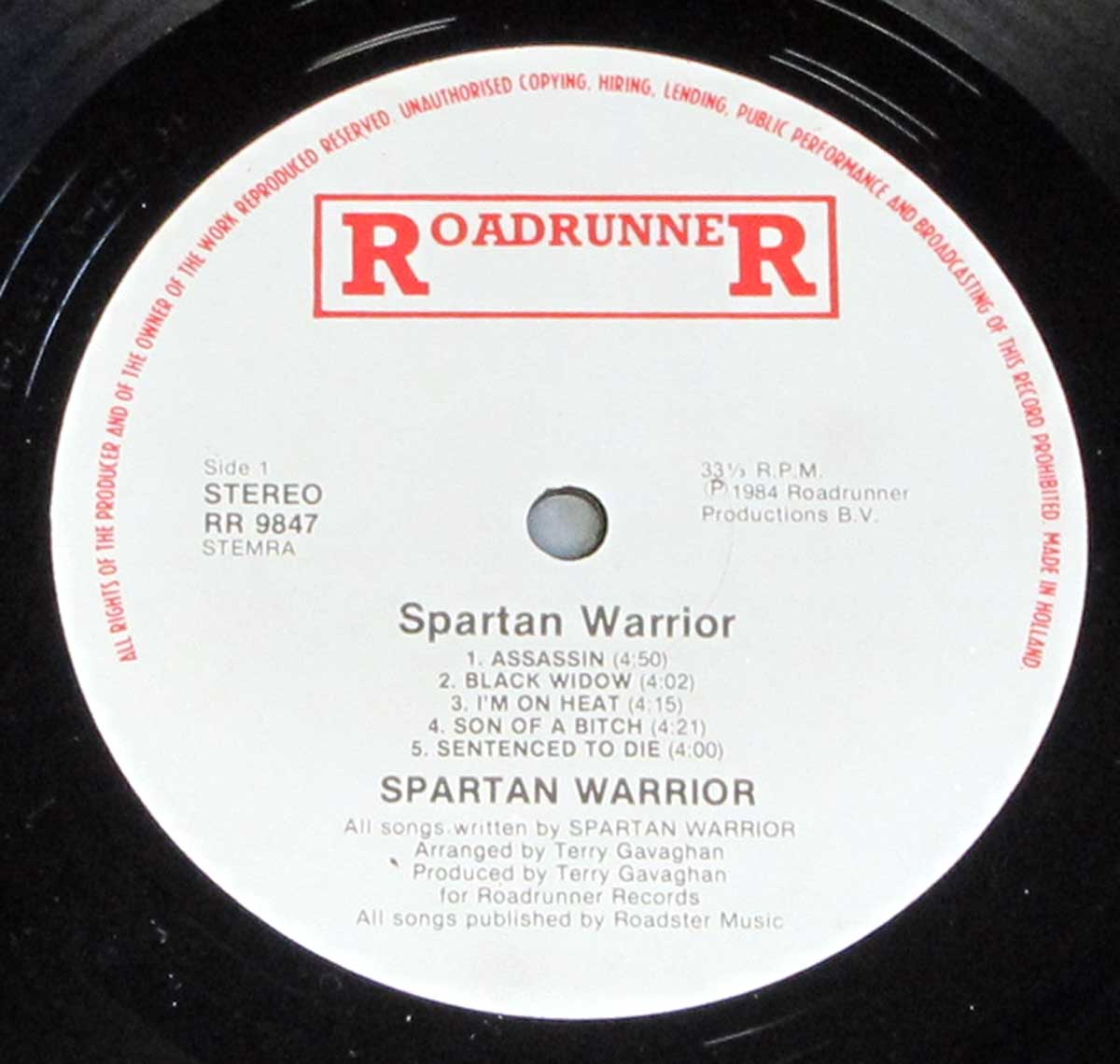 Enlarged High Resolution Photo of the Record's label SPARTAN WARRIOR - S/T Self-Titled https://vinyl-records.nl