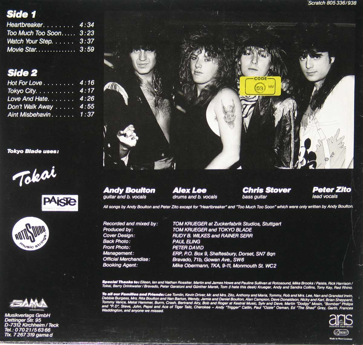 Photo of album back cover ANDY BOULTON TOKYO BLADE - Ain't Misbehavin' NWOBHM