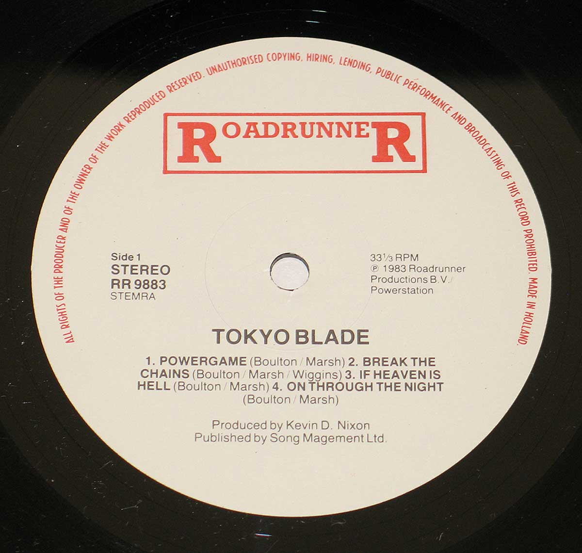 Enlarged High Resolution Photo of the Record's label Tokyo Blade https://vinyl-records.nl