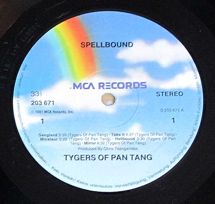 Close up of record's label TYGERS of PAN TANG - Spellbound Side One