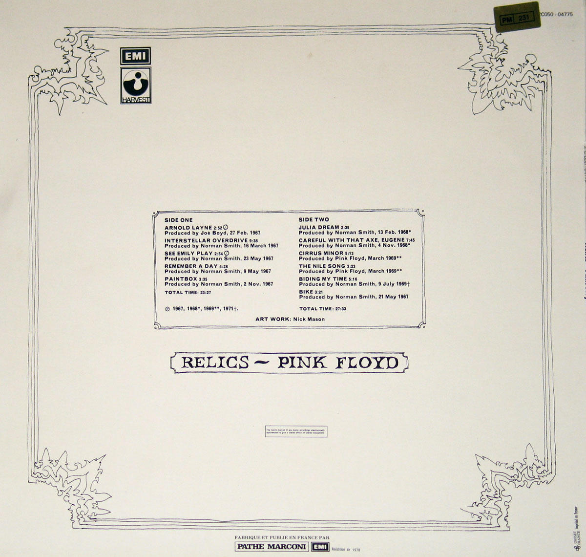 High Resolution Photo #2 PINK FLOYD Relics France