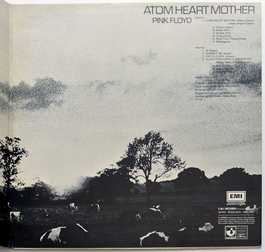 Photo of the right page inside cover PINK FLOYD - Atom Heart Mother Germany HÖR ZU