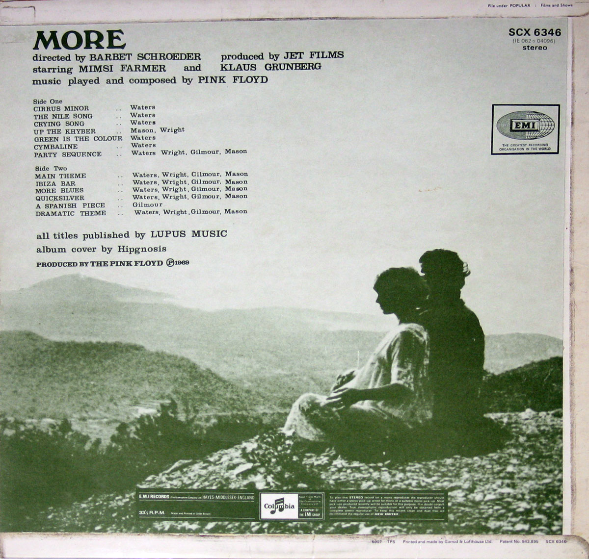High Resolution Photo #2 Pink Floyd More Movie Soundtrack GB
