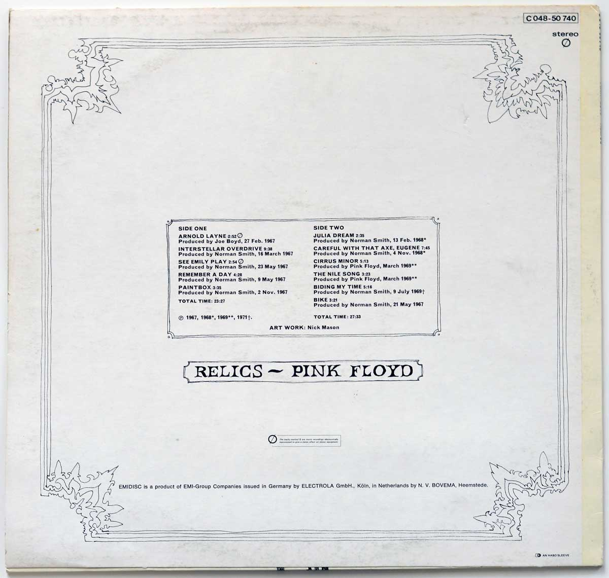 Photo of album back cover PINK FLOYD - Relics Netherlands