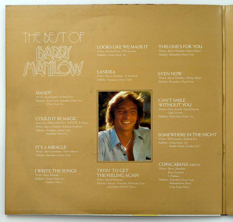 High Resolution Photo of the Inside Cover Side One of BARRY MANILOW - The Best of Barry Manilow https://vinyl-records.nl