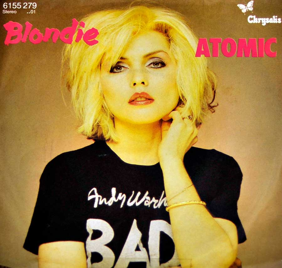 "BLONDIE - Atomic Bad Andy Warhol T-shirt 7"" Picture Sleeve SINGLE VINYL front cover https://vinyl-records.nl"