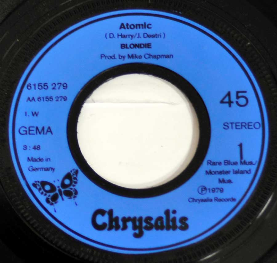 """Atomic"" Blue Colour Chrysalis Record Label Details: Chrysalis 6155 279 , Made in Germany"