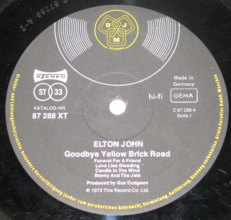 Record Label Details: DJM Records 87 288 XT (87288) , Made in Germany ℗ 1973 This Record Co ltd Sound Copyright