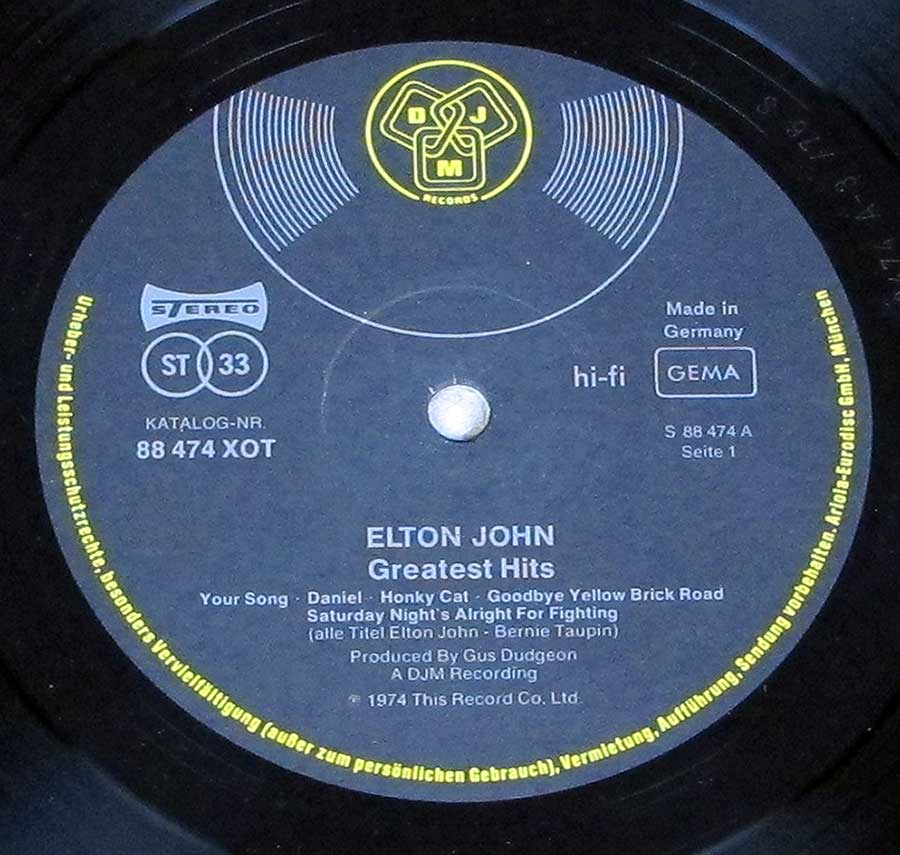 Close up of record's label ELTON JOHN - Greatest Hits DJM Side ONe