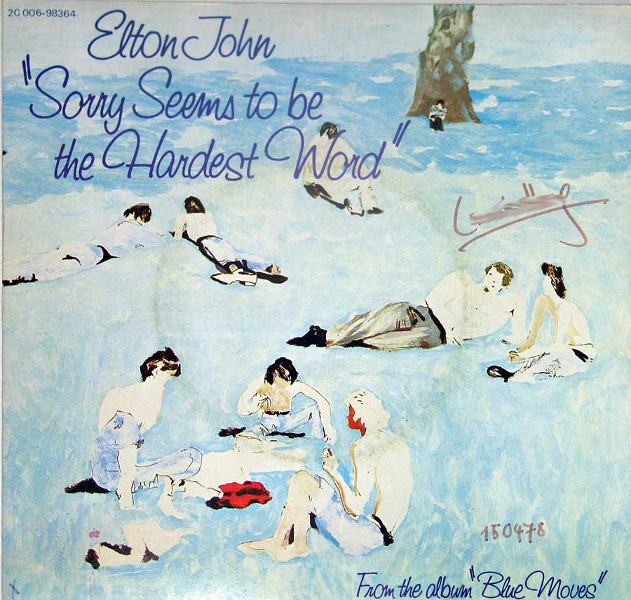 "ELTON JOHN - Sorry Seems to be the Hardest Word / Shoulder Holster 7"" Picture Sleeve Vinyl Single  front cover https://vinyl-records.nl"