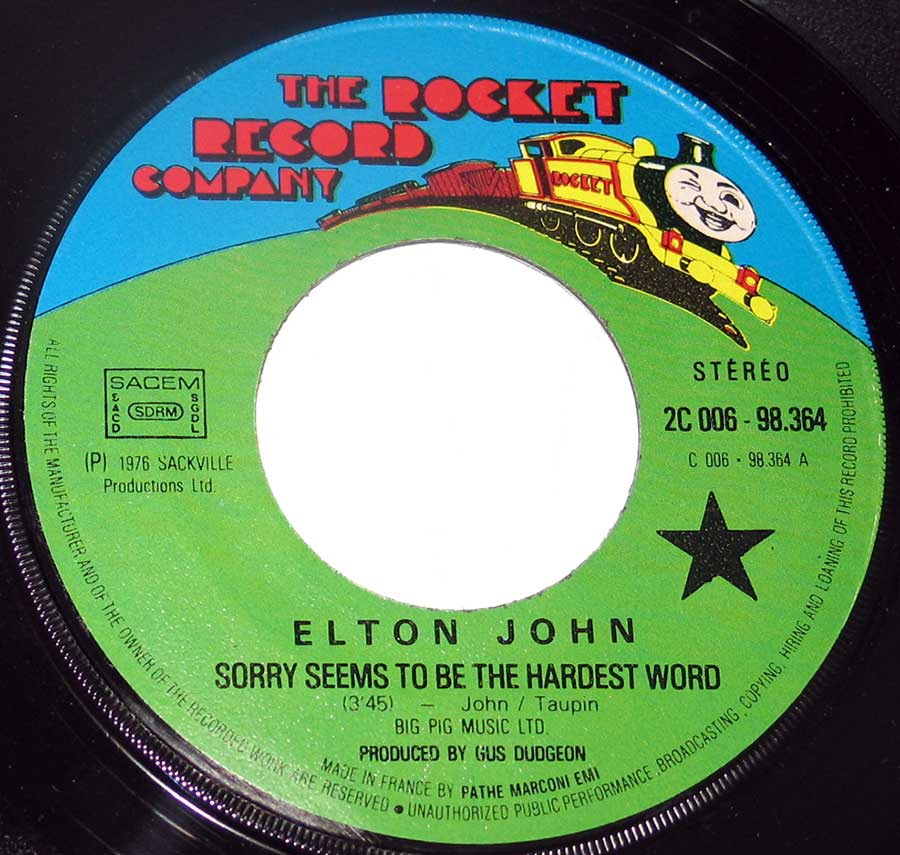 "ELTON JOHN - Sorry Seems to be the Hardest Word / Shoulder Holster 7"" Picture Sleeve Vinyl Single  vinyl lp record"