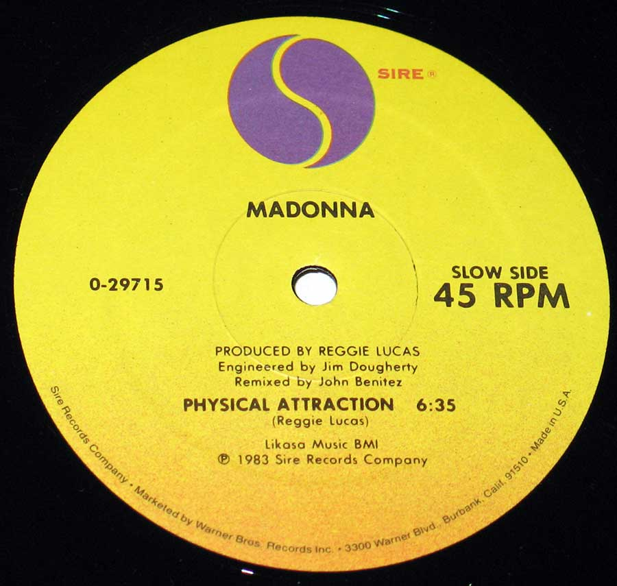 "MADONNA - Burning Up / Physical Attraction 7"" Vinyl Single enlarged record label"
