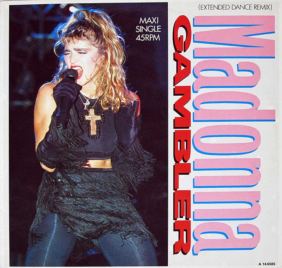 "MADONNA - Gambler Extended Dance Mix 12"" Maxi-Single front cover https://vinyl-records.nl"