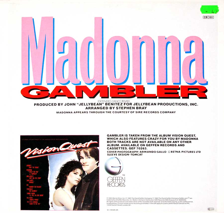 "MADONNA - Gambler Extended Dance Mix 12"" Maxi-Single back cover"