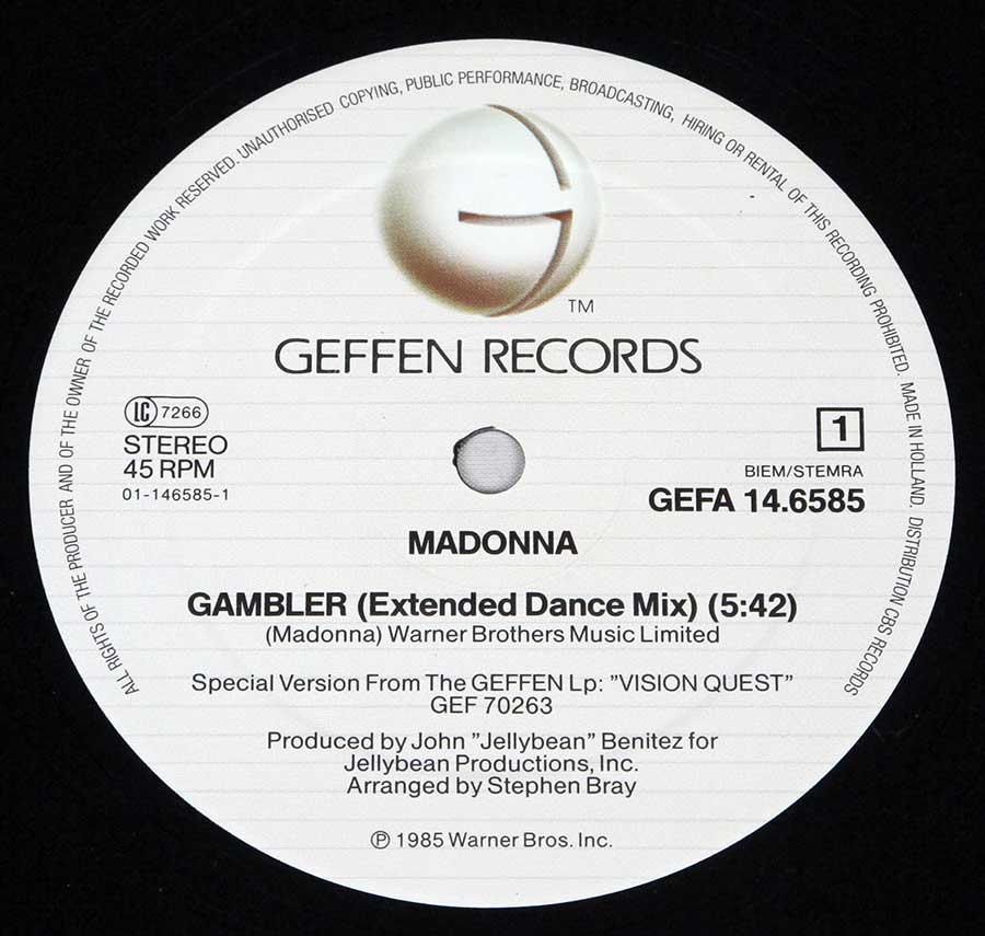 """Gambler 12"""" Record Label Details: Geffen GEFA 14.6585 ℗ 1985 Warner Bros Sound Copyright"