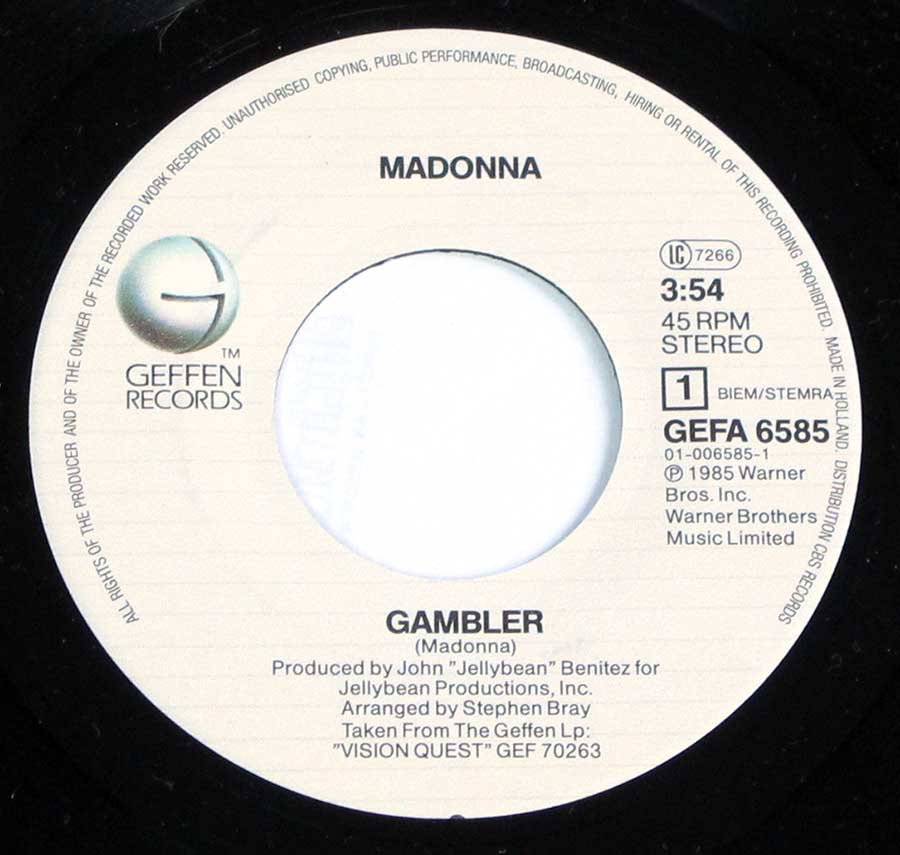 """Gambler 7"""" Record Label Details: GEFFEN GEFA 6585 ℗ 1985 Warner Bros Sound Copyright"