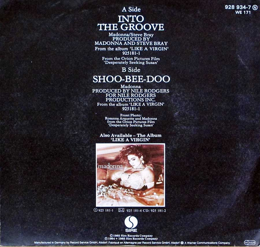 "Photo of album back cover MADONNA - Into The Groove / Shoo-Bee-Doo 7"" 45RPM PS Single Vinyl"