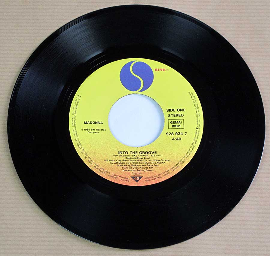 "Photo of Side One of MADONNA - Into The Groove / Shoo-Bee-Doo 7"" 45RPM PS Single Vinyl"