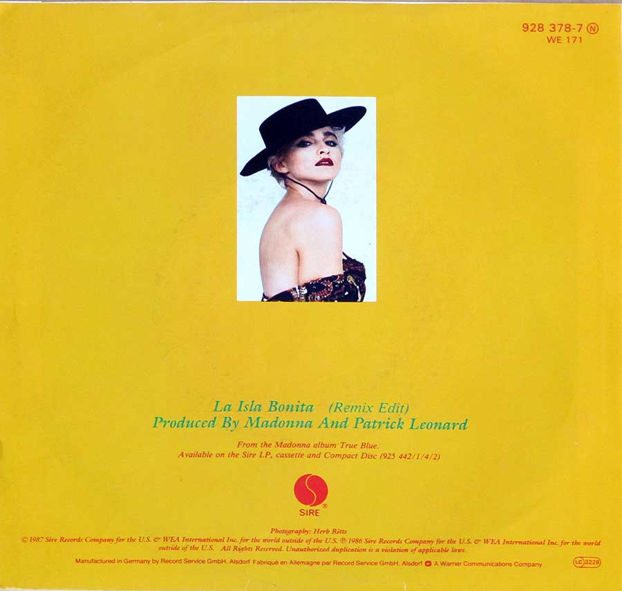 "MADONNA - La Isla Bonita (Remix Edit) 7"" 45RPM Picture Sleeve Single Vinyl back cover"