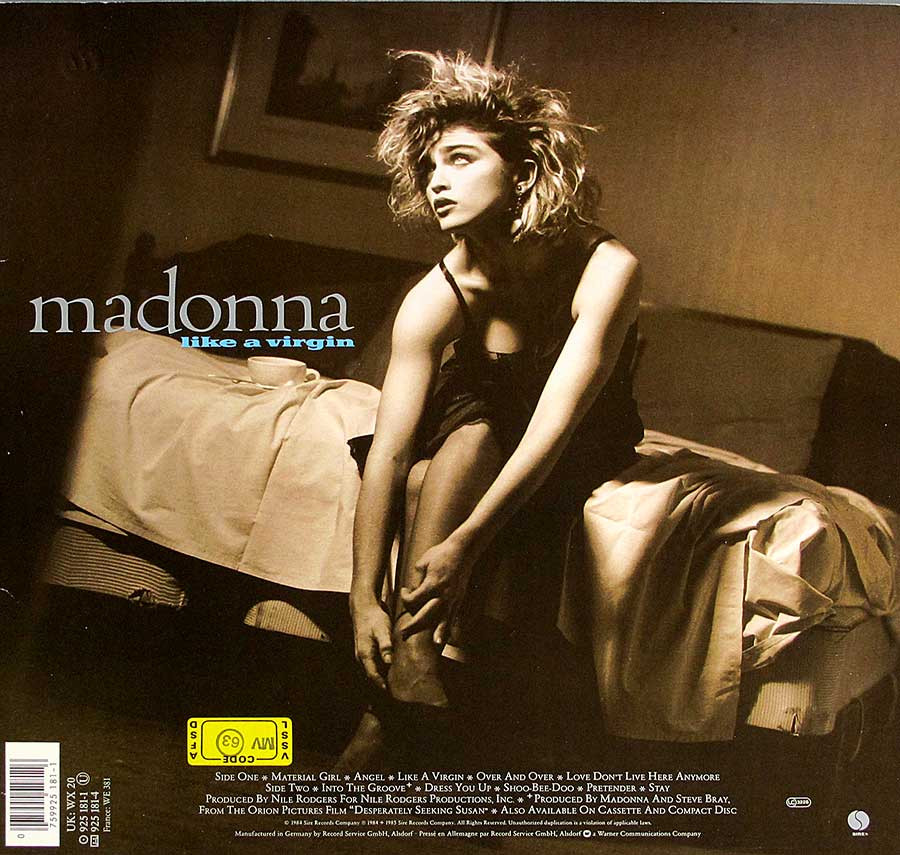 "MADONNA - Like a Virgin 12"" VINYL LP ALBUM  back cover"
