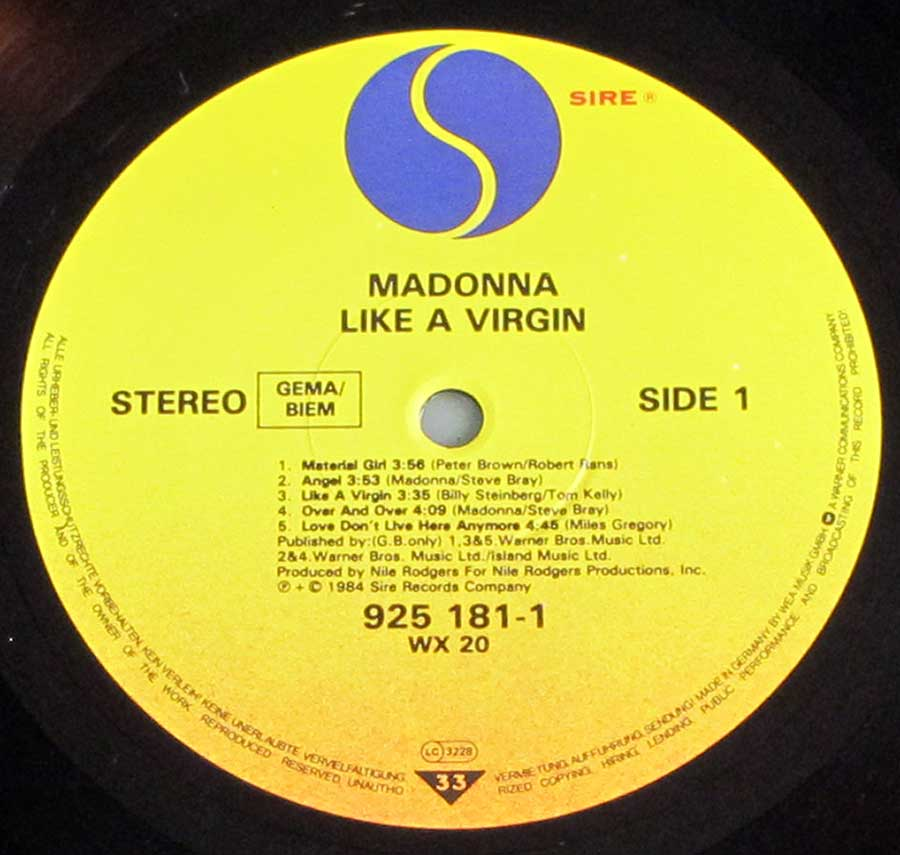 "MADONNA - Like a Virgin 12"" VINYL LP ALBUM  enlarged record label"