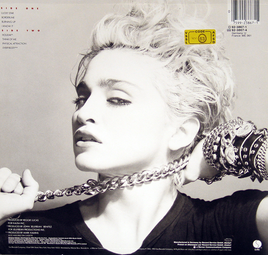 Photo of Madonna - self-titled first album Album's Back Cover