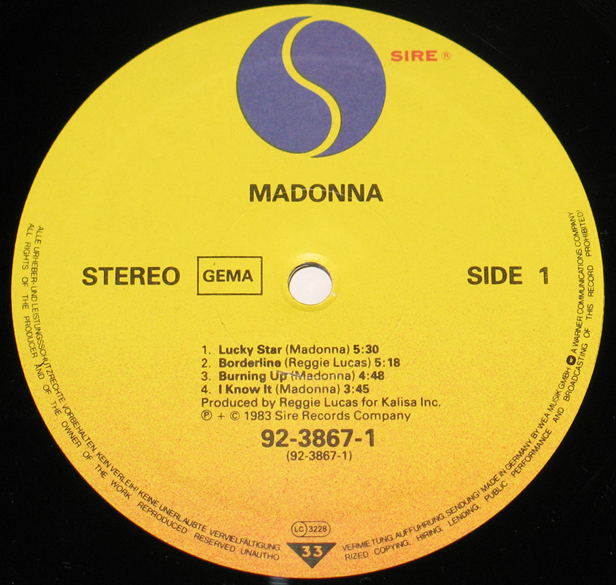 Close-up of the Yellow Sire Record Label of Madonna's album