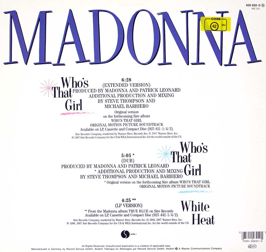 "MADONNA - Who's That Girl 12"" Vinyl Maxi-Single  back cover"