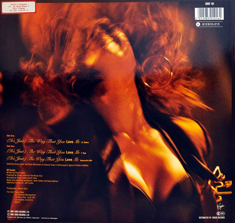 Photo of album back cover PAULA ABDUL - Way That You Love Me
