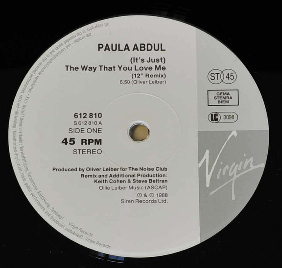 Photo of record label of PAULA ABDUL - Way That You Love Me