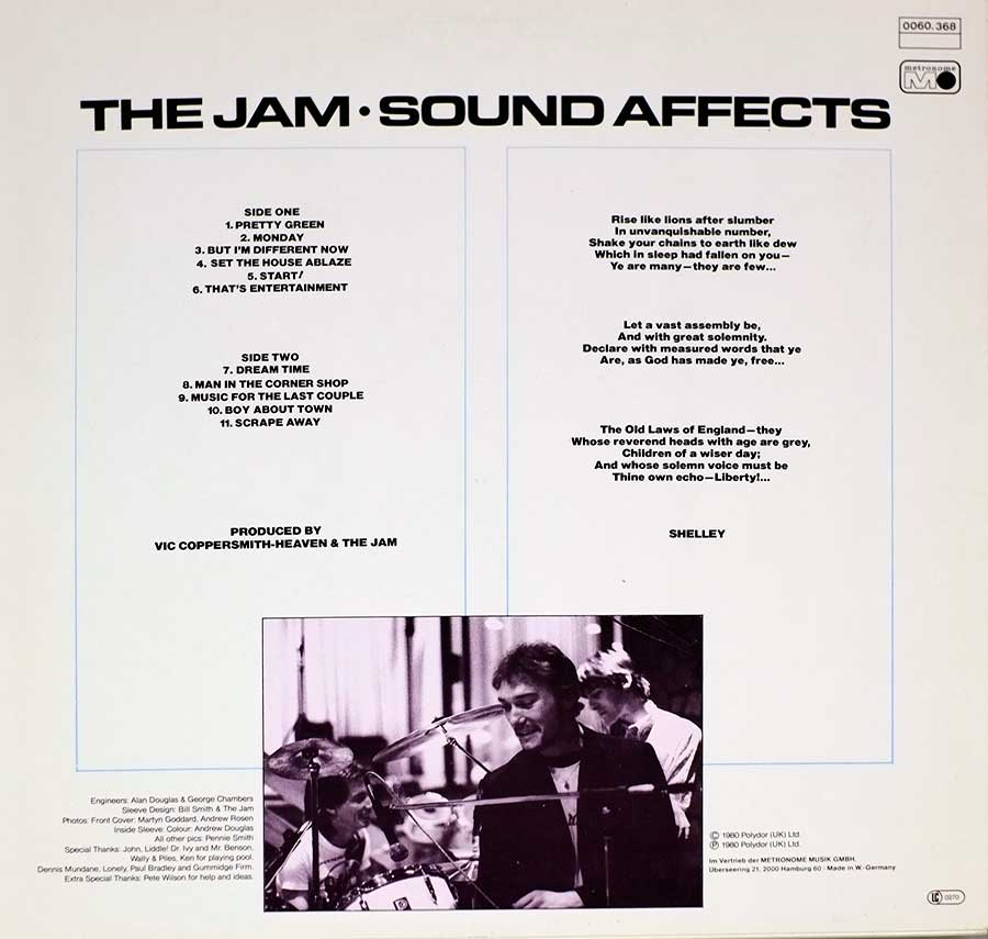 "THE JAM - Sound Affects 12"" Vinyl LP Album  back cover"