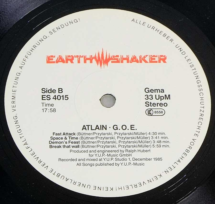 Enlarged High Resolution Photo of the Record's label ATLAIN - G.O.E. https://vinyl-records.nl
