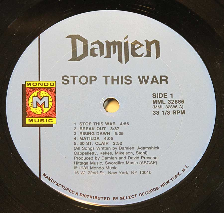 Front Cover Photo Of DAMIEN - Stop This War