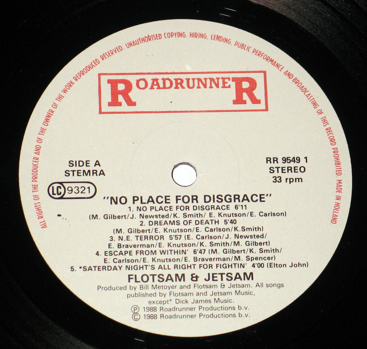 High Resolution Photo #3 FLOTSAM and JETSAM No Place for Disgrace Netherlands Vinyl Record