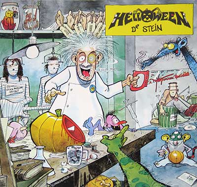 "Thumbnail of HELLOWEEN - Dr Stein 12"" Yellow Coloured Vinyl album front cover"