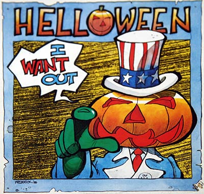 "Thumbnail of HELLOWEEN - I Want Out / Don't Run for Cover + Poster 7"" Single album front cover"
