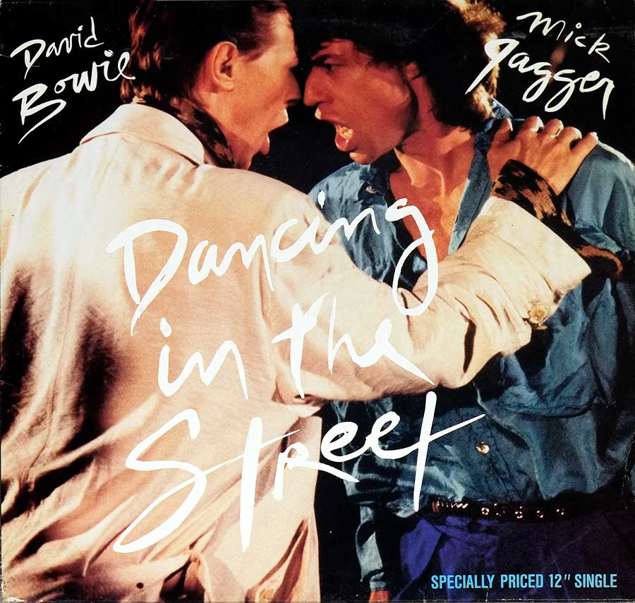 "Front Cover Photo Of DAVID BOWIE & MICK JAGGER - Dancing In The Street 12"" 45RPM Maxi-Single Vinyl"