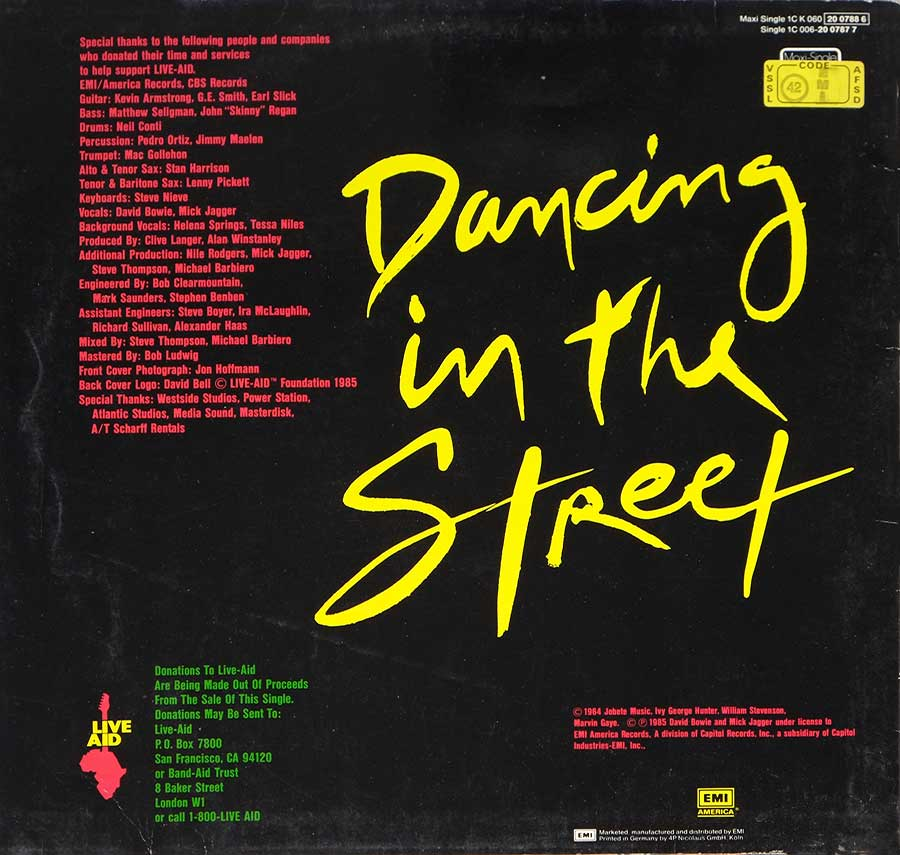 "Photo of album back cover DAVID BOWIE & MICK JAGGER - Dancing In The Street 12"" 45RPM Maxi-Single Vinyl"