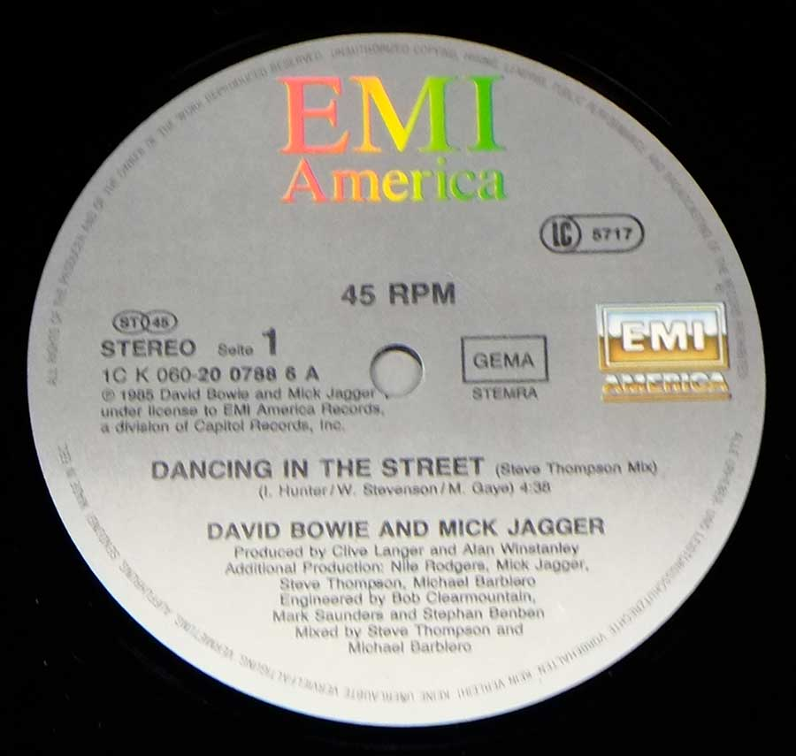 "Close up of record's label DAVID BOWIE & MICK JAGGER - Dancing In The Street 12"" 45RPM Maxi-Single Vinyl Side One"