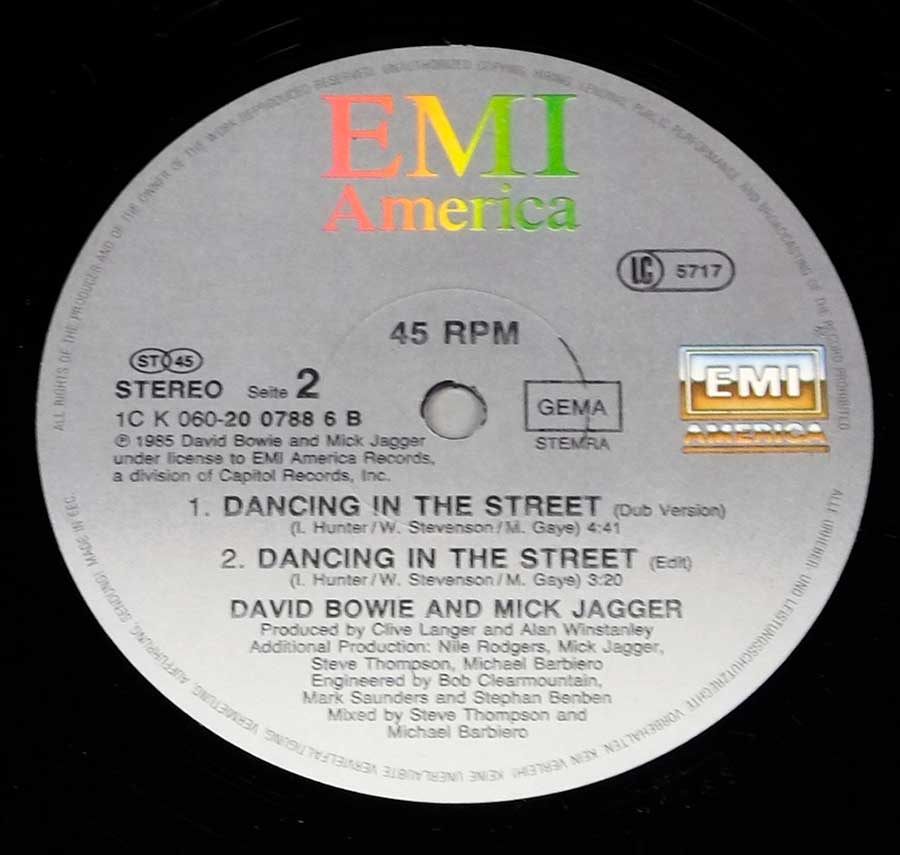 "Close up of record's label DAVID BOWIE & MICK JAGGER - Dancing In The Street 12"" 45RPM Maxi-Single Vinyl Side Two"