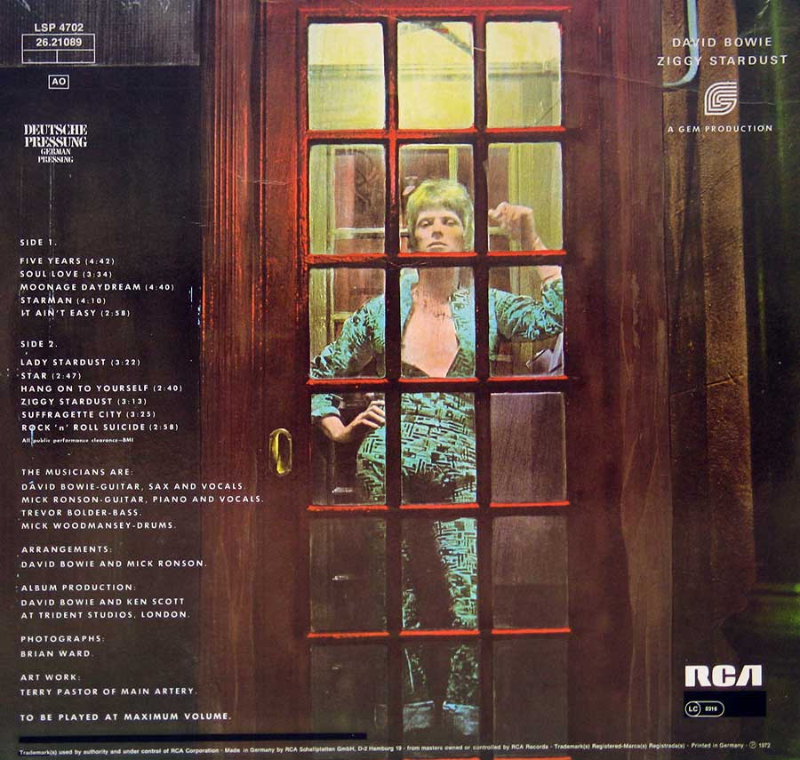 Photo of album back cover DAVID BOWIE Rise and Fall of Ziggy Stardust and the Spiders from Mars