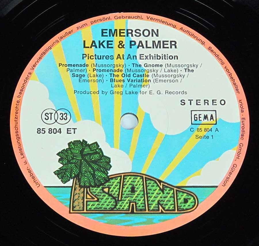 "Close up of record's label Emerson Lake Palmer Pictures at an Exhibition 12"" Vinyl LP Album Side One"