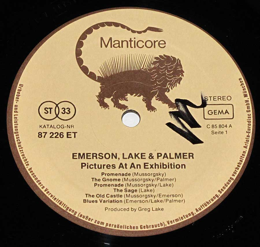 "Close up of record's label Emerson Lake Palmer Pictures at an Exhibition ( Germany ) 12"" Vinyl LP Album Side One"