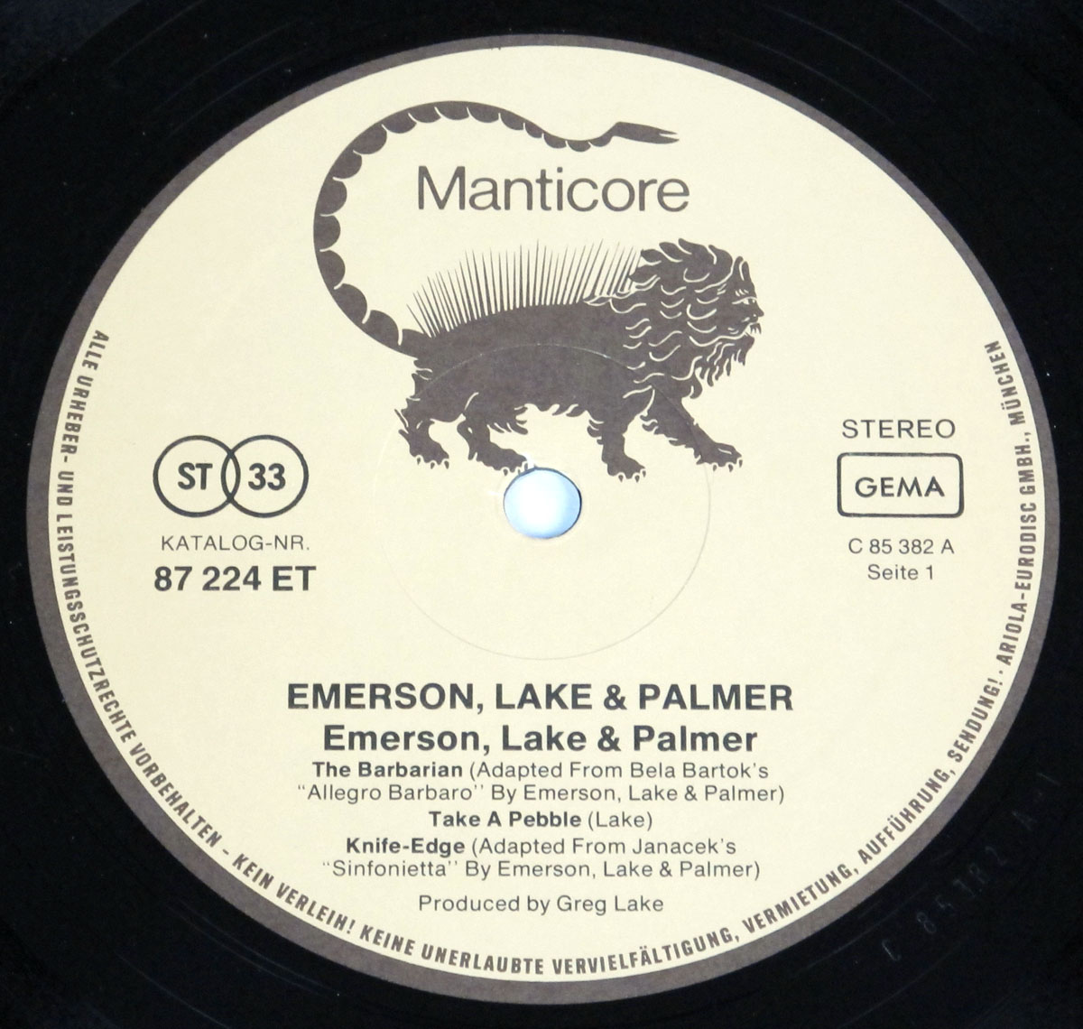 High Resolution Photo elp emerson lake palmer self-titled germany